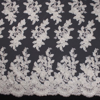 White Leaves and Flowers Beaded Bridal Lace Fabric By The Yard - Wide shot