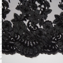 Black Leaves and Flowers Beaded Bridal Lace Fabric By The Yard