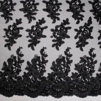 Black Leaves and Flowers Beaded Bridal Lace Fabric By The Yard - Wide shot