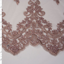 Rose Taupe Scrolling Floral Beaded Bridal Lace Fabric By The Yard