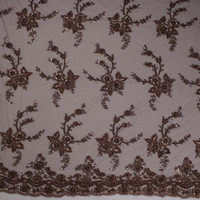 Brown and Silver Floral Beaded Bridal Lace Fabric By The Yard - Wide shot