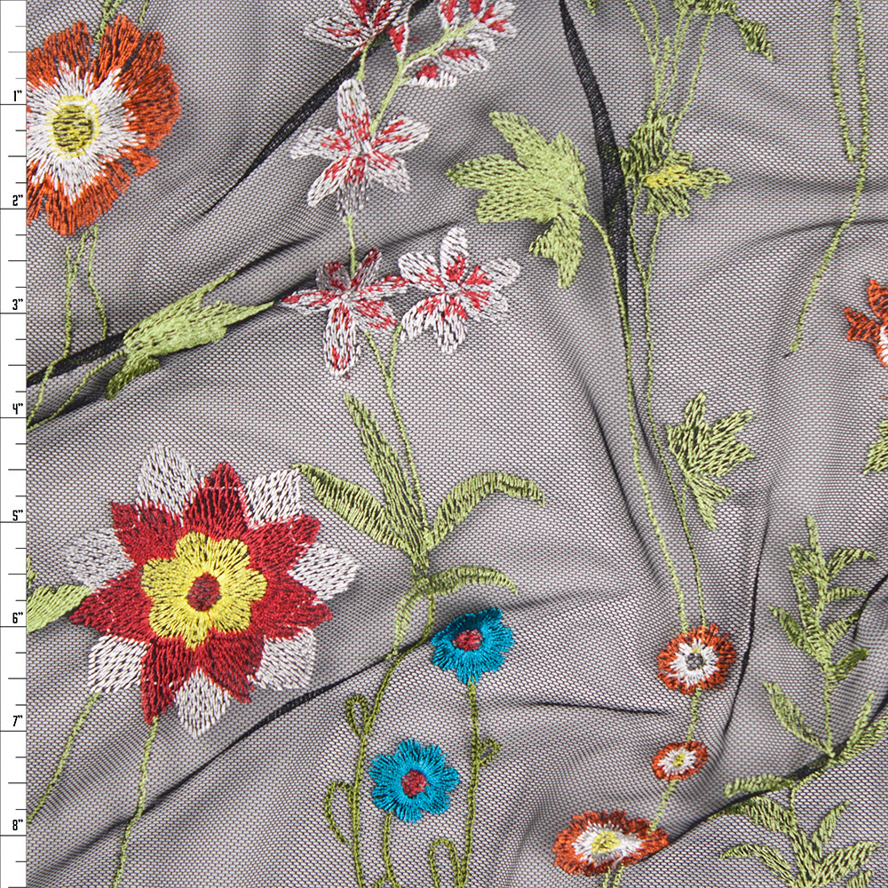 Vibrant Floral Embroidered Black Mesh Fabric By The Yard
