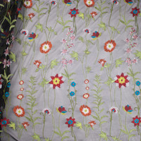 Vibrant Floral Embroidered Black Mesh Fabric By The Yard - Wide shot