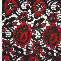 Black and Red Flowers and Scrollwork Designer Lace  Fabric By The Yard