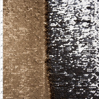 Matte Gold and Metallic Silver Reversible Two Tone Sequin Fabric