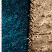 Matte Gold and Teal Reversible Two Tone Sequin Fabric