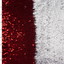 Metallic Red and Matte Silver Reversible Two Tone Sequin Fabric