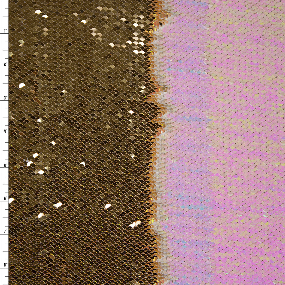 Gold and Iridescent White Reversible Two Tone Sequin Fabric