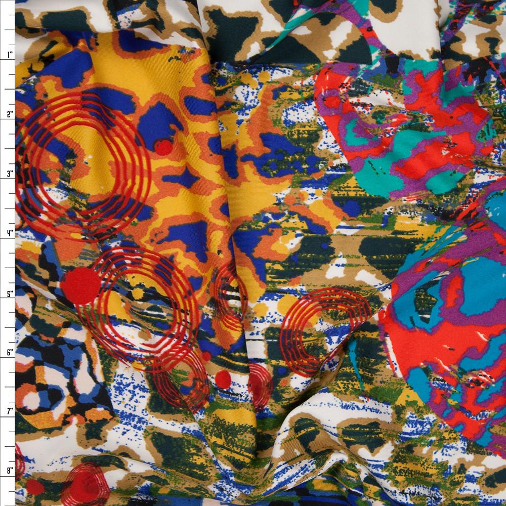 Vibrant Pop Art Leopard Poly/Lycra Stretch Knit Fabric By The Yard