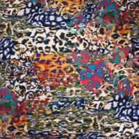 Vibrant Pop Art Leopard Poly/Lycra Stretch Knit Fabric By The Yard - Wide shot