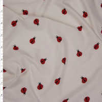 Red and Black Ladybugs on Offwhite Double Brushed Poly Spandex Fabric By The Yard