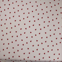 Red and Black Ladybugs on Offwhite Double Brushed Poly Spandex Fabric By The Yard - Wide shot