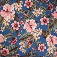 Pink on Slate Blue Island Floral Double Brushed Poly Spandex Fabric By The Yard - Wide shot