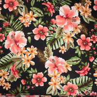 Bright Coral on Black Island Floral Double Brushed Poly Spandex Fabric By The Yard - Wide shot