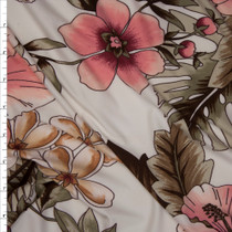 Pink on Ivory Island Floral Double Brushed Poly Spandex Fabric By The Yard