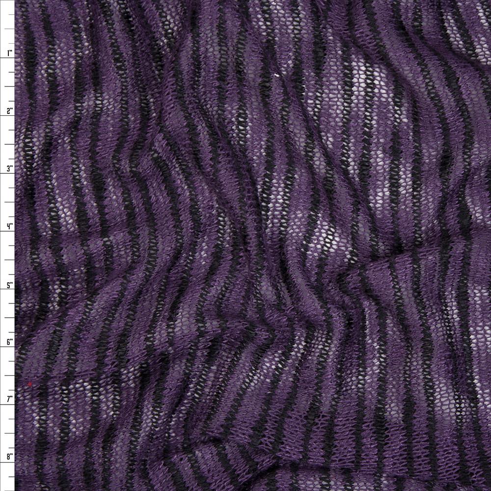 Black on Plum Stripe Slubbed Sweater Knit