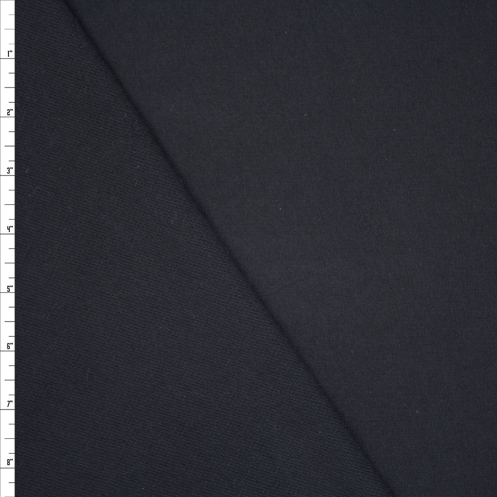Black Midweight Cotton French Terry Fabric By The Yard - Wide shot