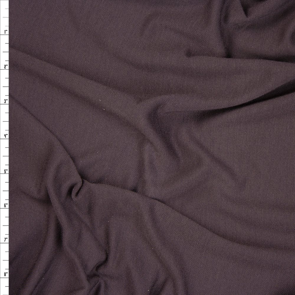 Dark Brown 4-way Stretch Lightweight French Terry Fabric By The Yard