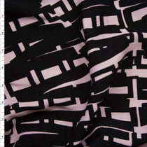 Blush and Black Abstract Print Midweight Stretch Poplin Fabric By The Yard