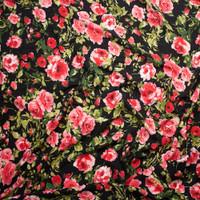 Bright Pink and Green Roses on Black Rayon Challis Fabric By The Yard - Wide shot