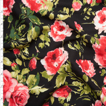 Bright Pink and Green Roses on Black Rayon Challis Fabric By The Yard