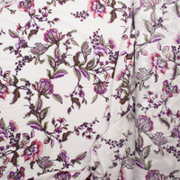 Purple, Pink, and Green Scrolling Floral on Ivory Rayon Challis Print Fabric By The Yard - Wide shot
