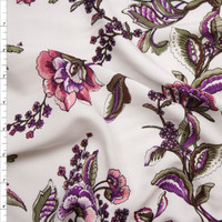 Purple, Pink, and Green Scrolling Floral on Ivory Rayon Challis Print Fabric By The Yard