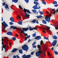 Hot Pink, Red, and Blue Watercolor Roses on White Rayon Challis Fabric By The Yard