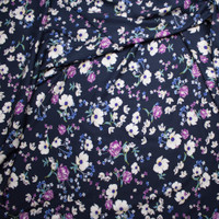 White and Purple Wildflowers on Navy Rayon Challis Fabric By The Yard - Wide shot