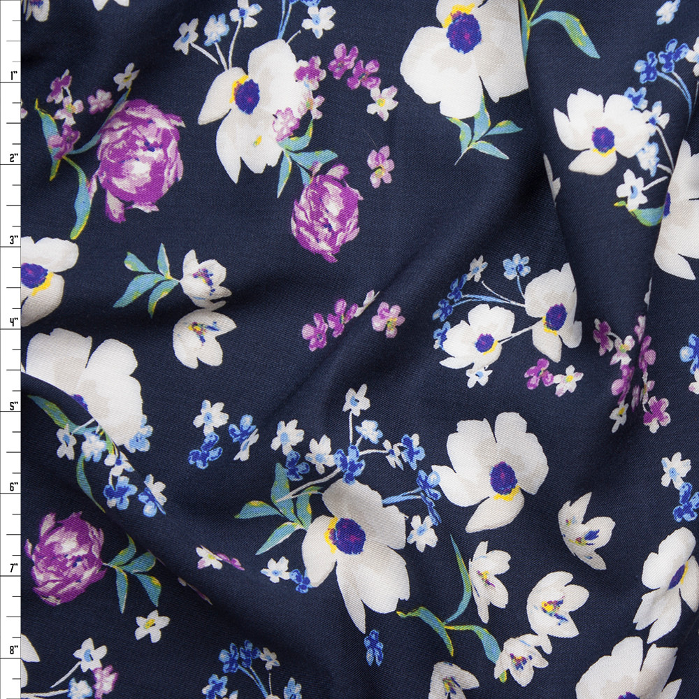 White and Purple Wildflowers on Navy Rayon Challis Fabric By The Yard