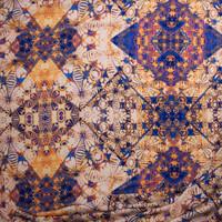 Rich Blue and Orange Kaleidoscope Diamond Rayon Challis Fabric By The Yard - Wide shot