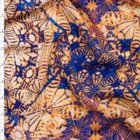 Rich Blue and Orange Kaleidoscope Diamond Rayon Challis Fabric By The Yard