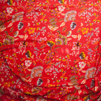 Yellow and Orange Floral on Bright Red Rayon Challis Fabric By The Yard - Wide shot