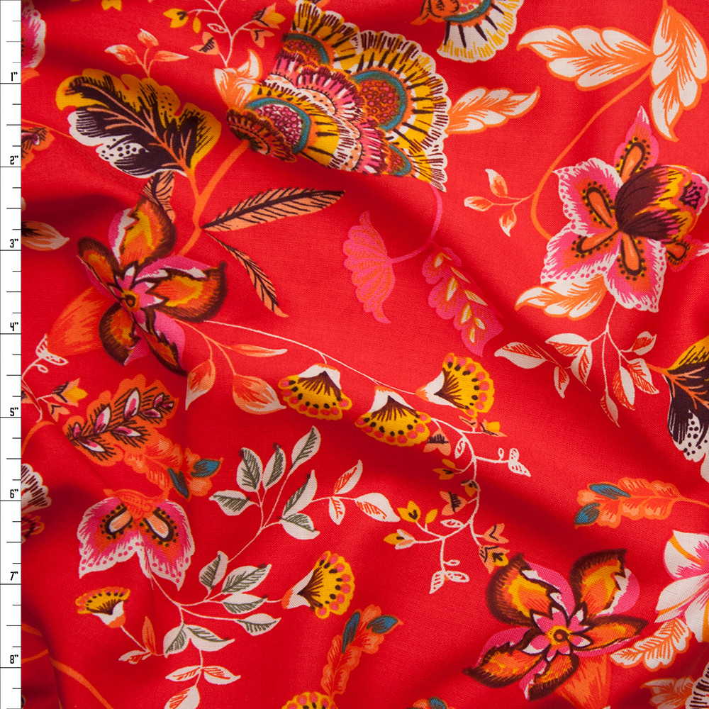 Yellow and Orange Floral on Bright Red Rayon Challis Fabric By The Yard