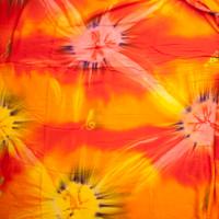 Fire Orange Tie Dye Rayon Challis Fabric By The Yard - Wide shot