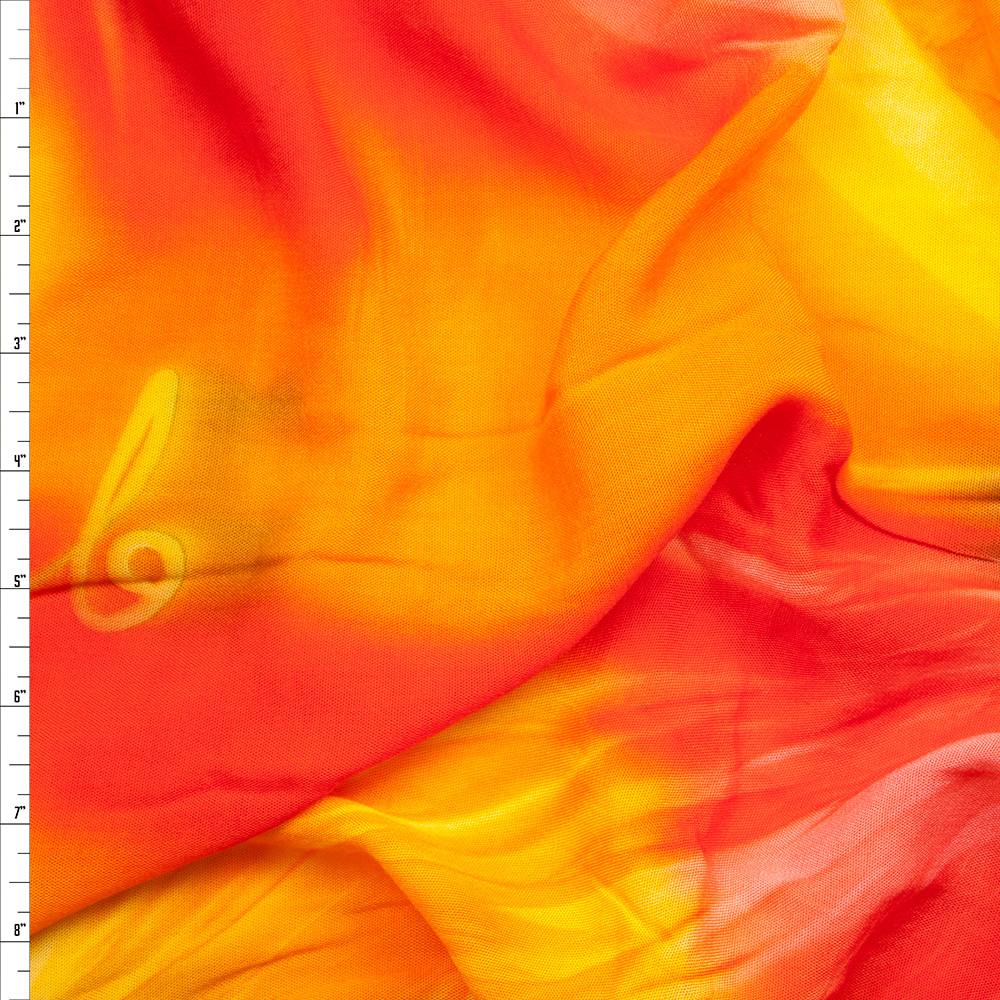 Fire Orange Tie Dye Rayon Challis Fabric By The Yard