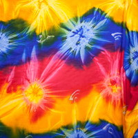 Multi Color Tie Dye Rayon Challis Fabric By The Yard - Wide shot