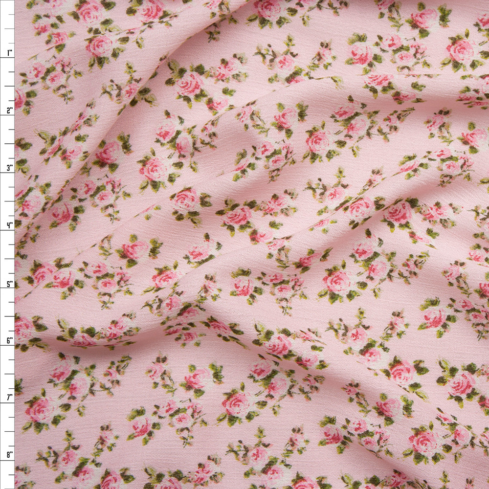 Pink and Green Mini Rose Floral on Pink Rayon Challis Fabric By The Yard