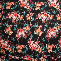 Pink and Orange Rose Floral on Black Rayon Gauze Fabric By The Yard - Wide shot
