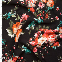 Pink and Orange Rose Floral on Black Rayon Gauze Fabric By The Yard