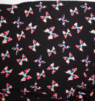 Bright Multi Butterflies on Black Rayon Gauze Fabric By The Yard - Wide shot