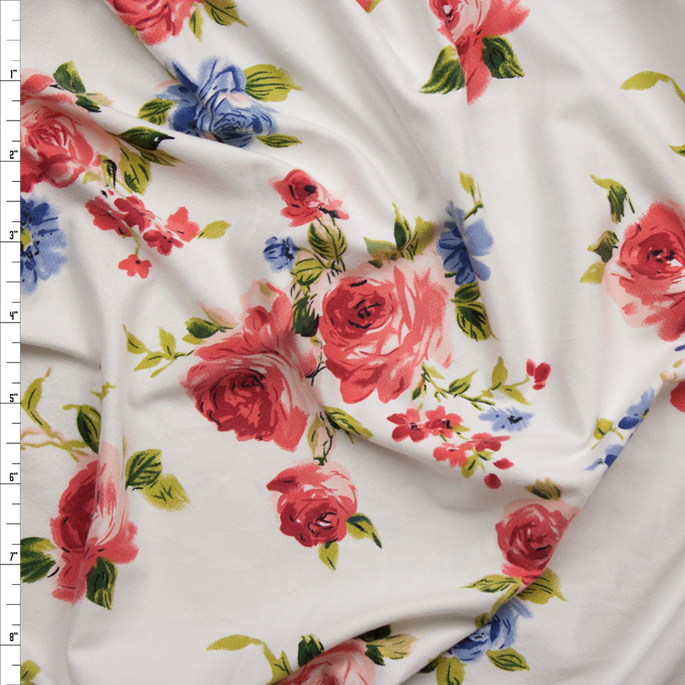 Pink and Light Blue Roses on Offwhite Double Brushed Poly Spandex Fabric By The Yard