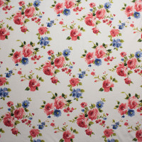 Pink and Light Blue Roses on Offwhite Double Brushed Poly Spandex Fabric By The Yard - Wide shot