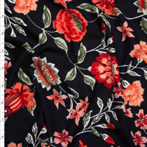 Red and Coral Hand Painted Style Floral on Black Double Brushed Poly Spandex Fabric By The Yard