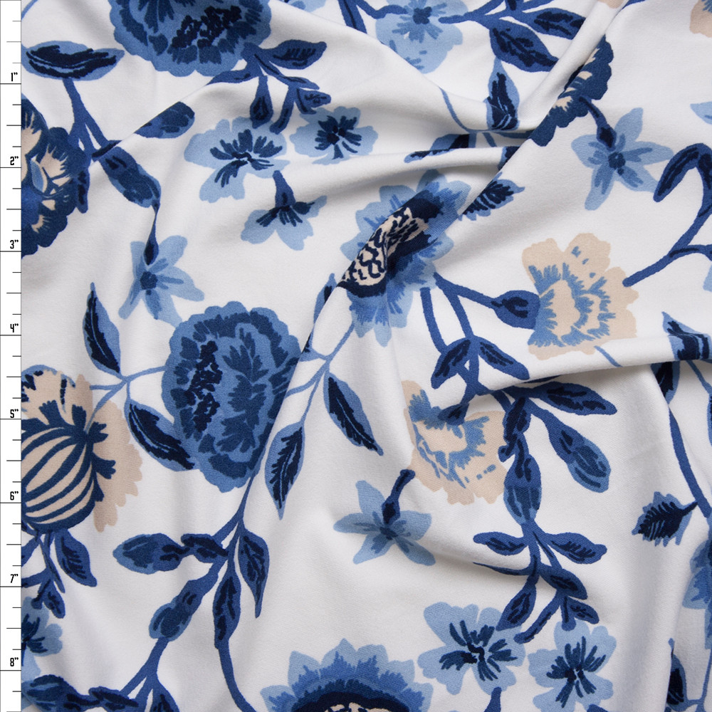 Blue and Tan Hand Painted Style Floral on White Double Brushed Poly Spandex Fabric By The Yard
