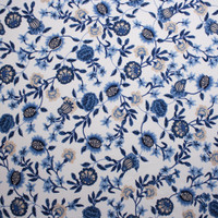Blue and Tan Hand Painted Style Floral on White Double Brushed Poly Spandex Fabric By The Yard - Wide shot