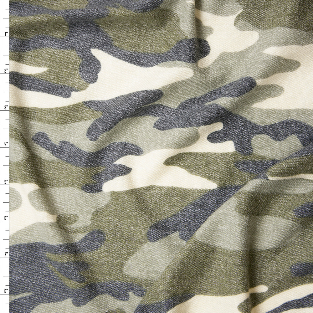 Camouflage Soft Printed French Terry Fabric By The Yard