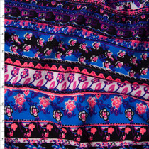 Neon Pink, Bright Blue, and Black Bohemian Stripe Liverpool Fabric By The Yard