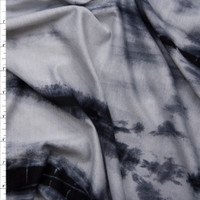 Silver and Black Streak Tye Dye Lightweight Stretch Lightweight French Terry Fabric By The Yard