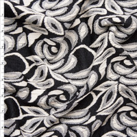 Black and Ivory Floral Textured Double Knit Fabric By The Yard